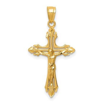 14k Diamond-cut Crucifix Pendant