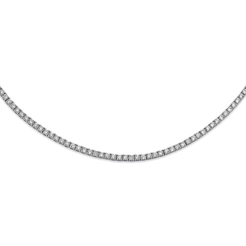 Cheryl M Cheryl M Sterling Silver Rhodium-plated 18 inch CZ Necklace