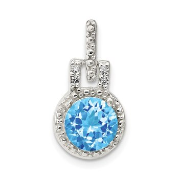 Sterling Silver Polished Topaz and White CZ Pendant