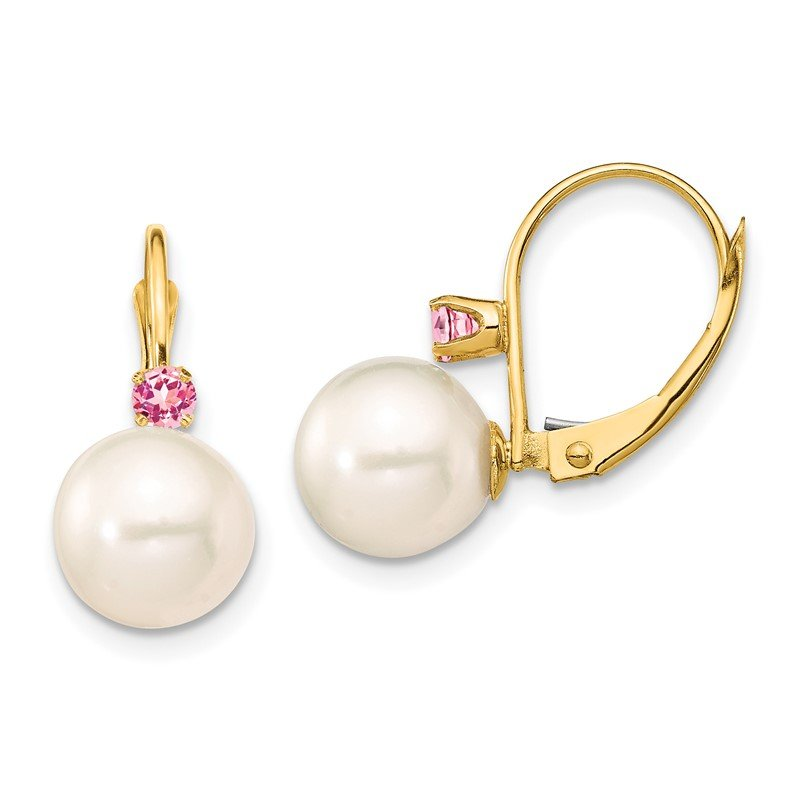 Quality Gold 14K 8-8.5mm White Round FWC Pearl Pink Topaz Leverback Earrings