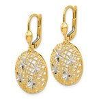 Quality Gold 14K and Rhodium Polished and Textured Dangle Leverback Earrings