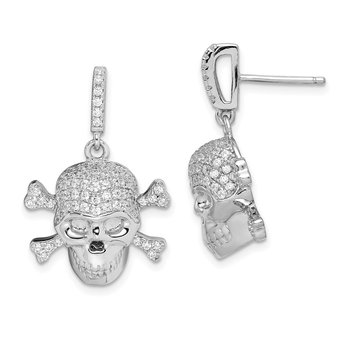 Sterling Silver Rhodium-plated CZ Skull Dangle Post Earrings