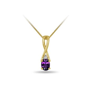 10K YG and diamond and Amethyst infinity style birthstone pendant