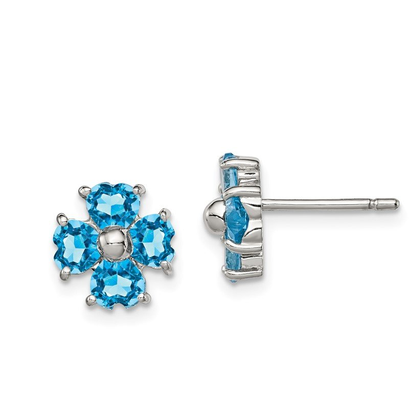 Quality Gold Sterling Silver Rhodium Swiss Blue Topaz Flower Post Earrings