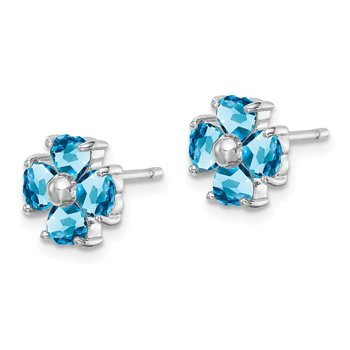 Sterling Silver Rhodium Swiss Blue Topaz Flower Post Earrings