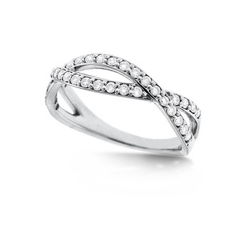 Diamond Infinity Ring in 14k White Gold with 36 Diamonds weighing .36ct tw.
