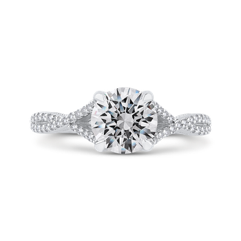 Round Diamond Engagement Ring In 14K White Gold with Split Shank (Semi-Mount)