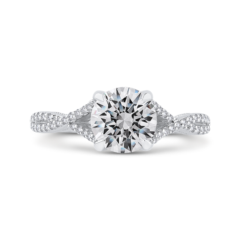 Carizza Round Diamond Engagement Ring In 14K White Gold with Split Shank (Semi-Mount)