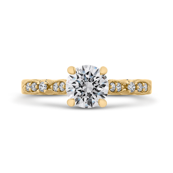 18K Yellow Gold Round Diamond Vintage Engagement Ring (Semi-Mount)
