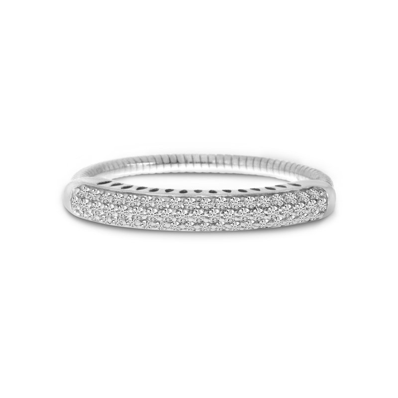 Color Merchants 14K White Gold Stretch Diamond Band Comfort Ring (.33 ct)