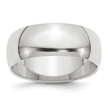 Sterling Silver 8mm Half-Round Band