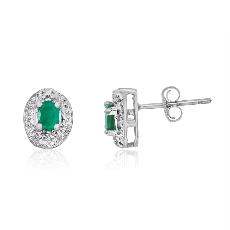 Color Merchants 14k White Gold Emerald Earrings with Diamonds