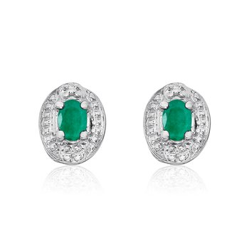 14k White Gold Emerald Earrings with Diamonds