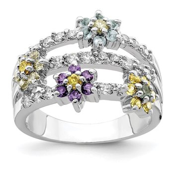 Sterling Silver Multicolor CZ Floral Ring