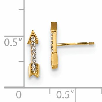 14k Madi K Polished CZ Arrow Post Earrings