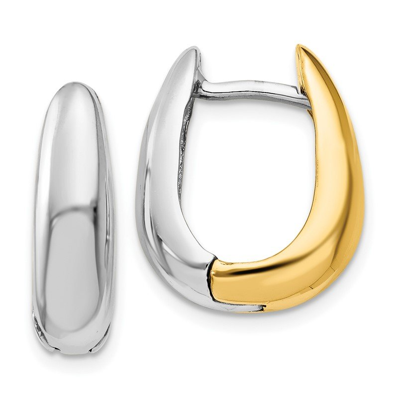 Quality Gold 14k Two-tone U Shaped Hinged Hoop Earrings