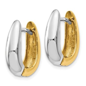 14k Two-tone U Shaped Hinged Hoop Earrings