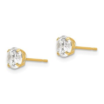 14k 5mm Round CZ Post Earrings