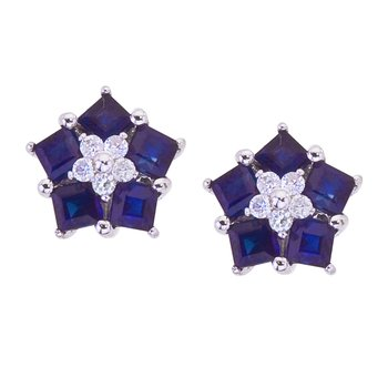 14k White Gold Sapphire and Diamond Floral Star Earrings