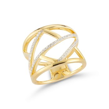 14k wide open geometric band set with diamonds T.W 0.29ct