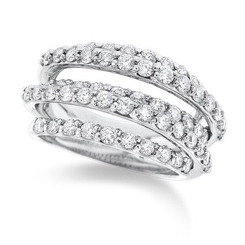 Diamond Roller Coaster Ring in 14K White Gold with 59 diamonds weighing 1.77ct tw