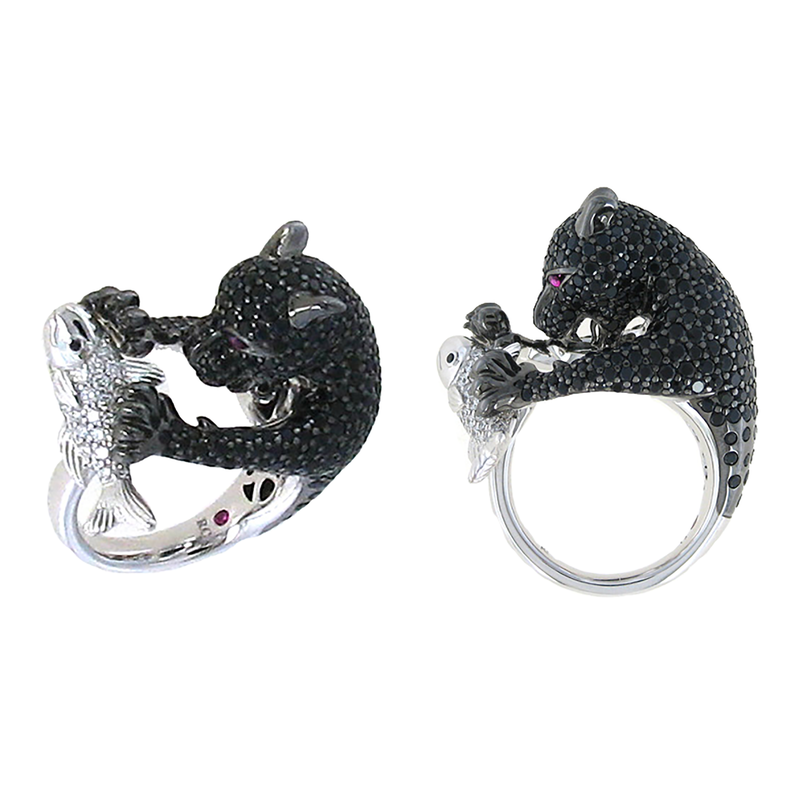 Roberto Coin 18Kt Gold White Diamond, Black Sapphire Bear Ring