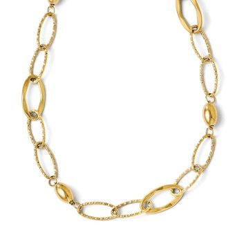Leslie's 14k Polished and Textured Fancy Link w/2in ext Necklace