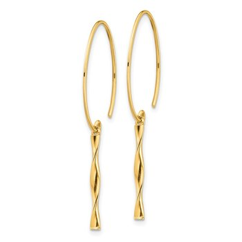 14K Twist Bar Dangle Earrings
