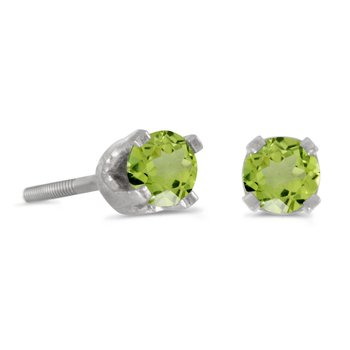 3 mm Petite Round Peridot Screw-back Stud Earrings in 14k White Gold