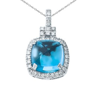 14K White Gold Blue Topaz Cushion Pendant