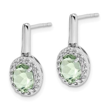 Sterling Silver Rhodium-plated Green Quartz Oval Post Dangle Earrings