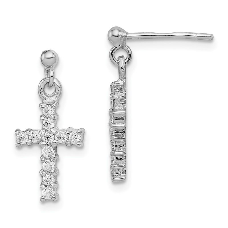 Quality Gold Sterling Silver Rhodium-plated CZ Cross Post Dangle Earrings