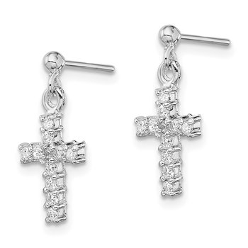 Sterling Silver Rhodium-plated CZ Cross Post Dangle Earrings