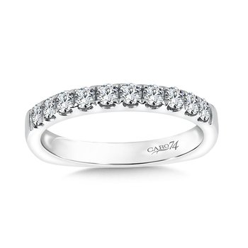 Prong Set Round Diamond Wedding Band in 14K White Gold
