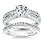 Caro74 Split Shank Engagement Ring in 14K White Gold with Platinum Head (1ct. tw.)