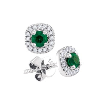 14kt White Gold Womens Round Emerald Solitaire Diamond Frame Screwback Earrings 1/2 Cttw