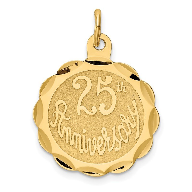 Quality Gold 14k 25th ANNIVERSARY Disc Charm