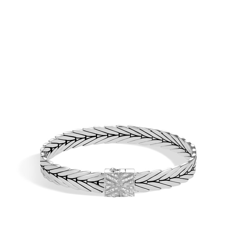 John Hardy Modern Chain 8MM Bracelet in Silver with Diamonds