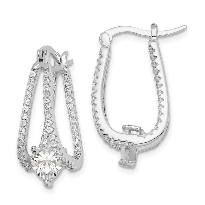 Sterling Silver Rhodium-plated Heart CZ In/Out Double Hoop Earrings