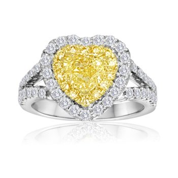 Two-Tone Heart Shaped Diamond Ring