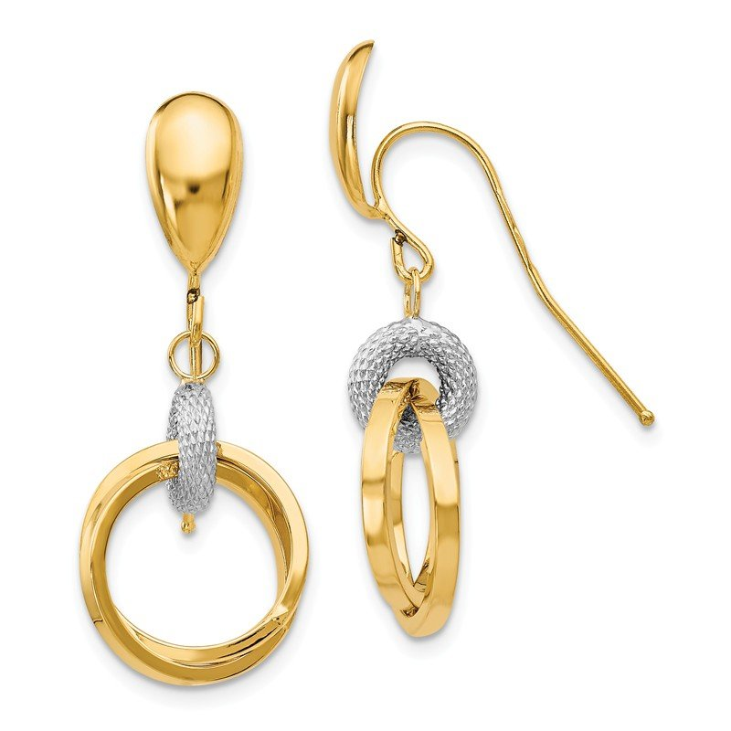 Leslie's Leslie's 14k Two-tone Polished and Textured Shepherd Hook Earrings