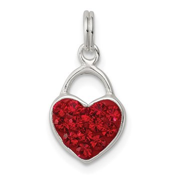 Sterling Silver Red Stellux Crystal Polished Heart Pendant
