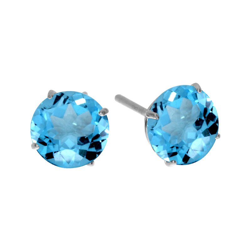Color Merchants 6mm Round 14k White Gold Blue Topaz Stud Earrings