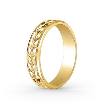 Floral Milgrain Mens Wedding Band 5mm
