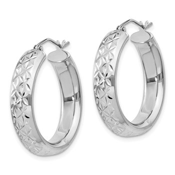 Sterling Silver Rhodium-plated Diamond Cut 5mm Hoop Earrings