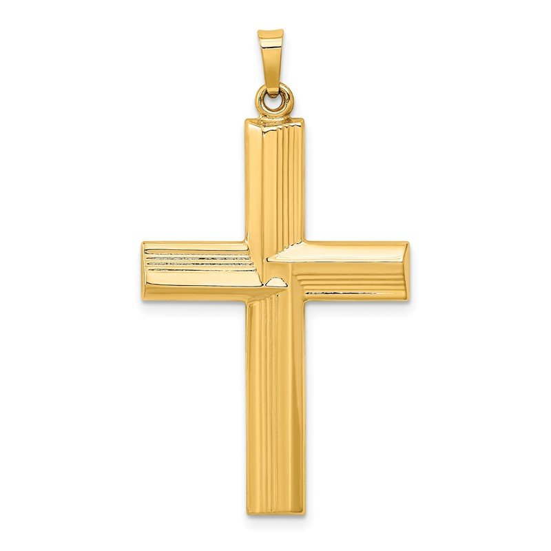 Quality Gold 14k Hollow Polished Stripe Design Latin Cross