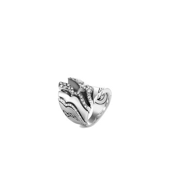 Lahar Saddle Ring in Silver with Diamonds