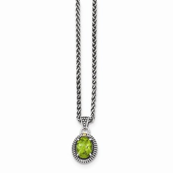 Sterling Silver w/14ky Peridot Oval Necklace