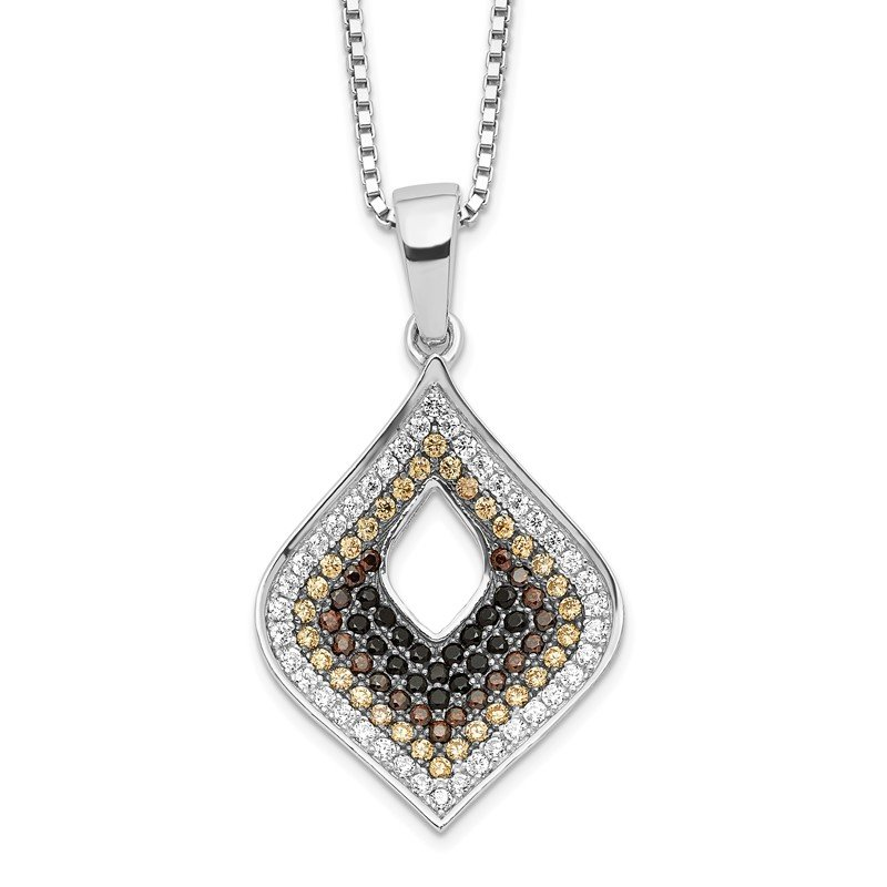Quality Gold SS Rhodium-Plated CZ Brilliant Embers Necklace