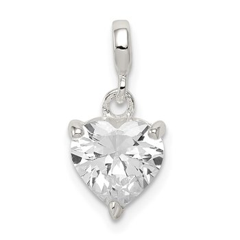 Sterling Silver Clear CZ Heart Enhancer